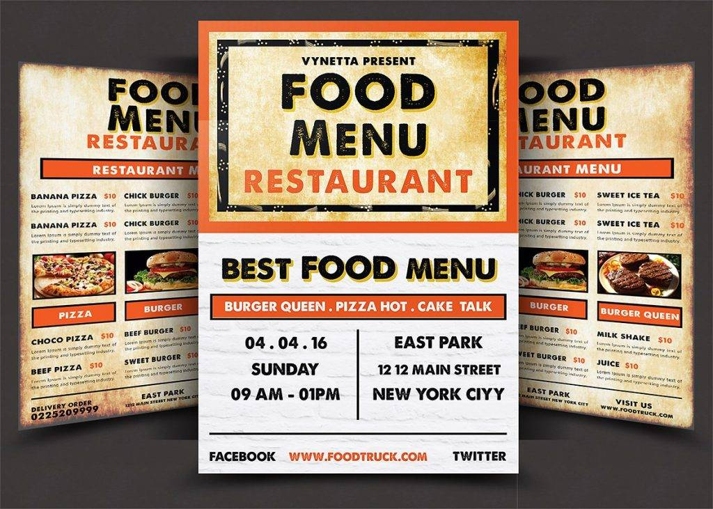 american vintage restaurant menu design example