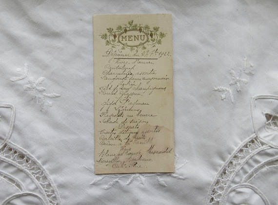 antique vintage french menu example