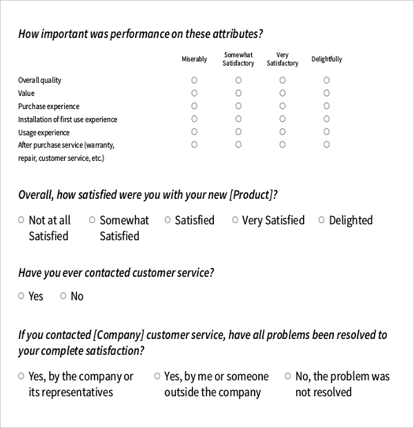 any product survey example