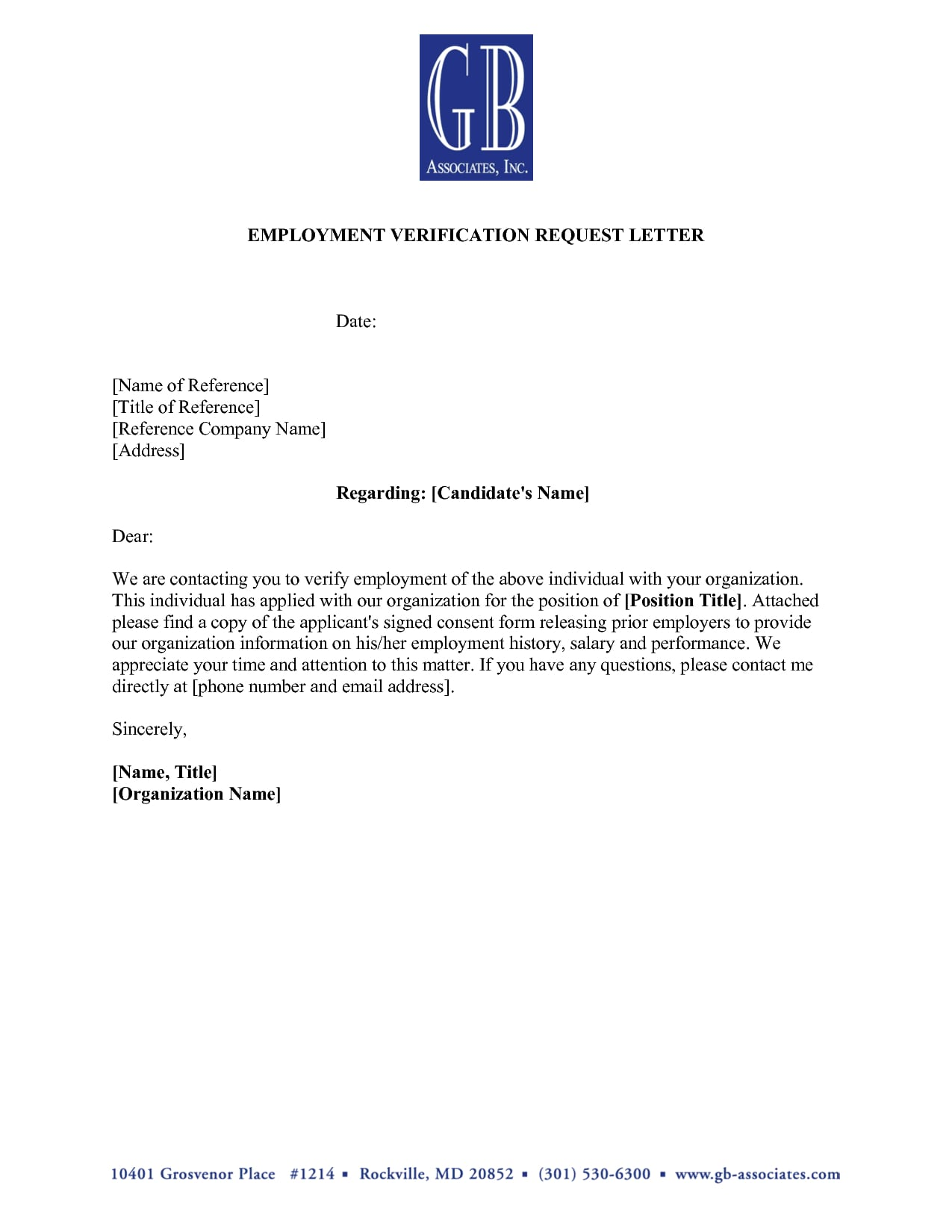 application employment verification letter example