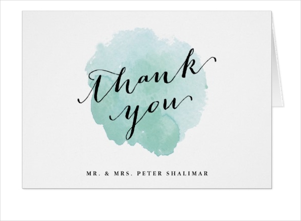 aqua watercolor thank you note card