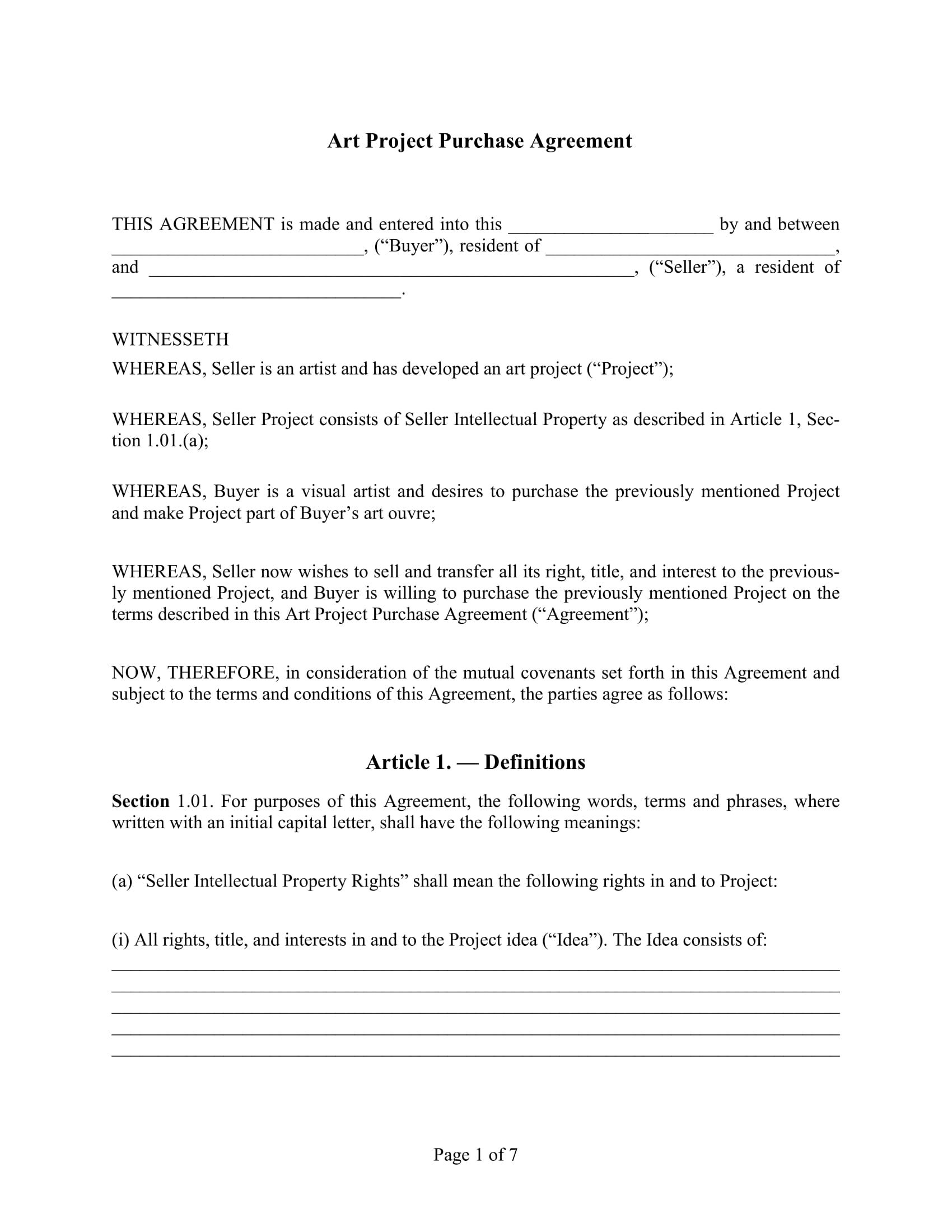 art project purchase agreement example