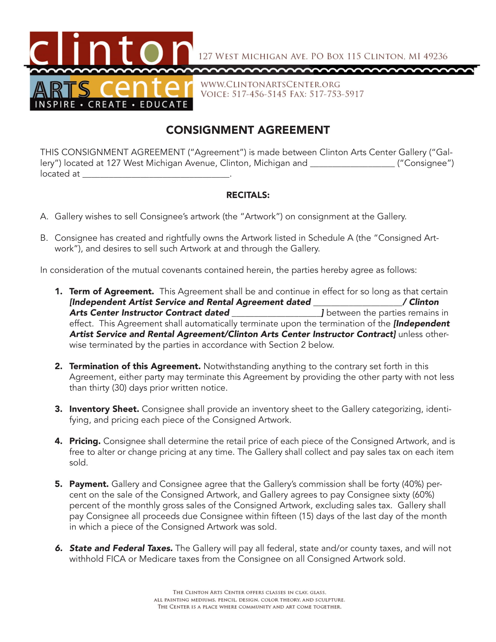 art work consignment agreement example