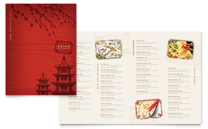 asian art menu template example