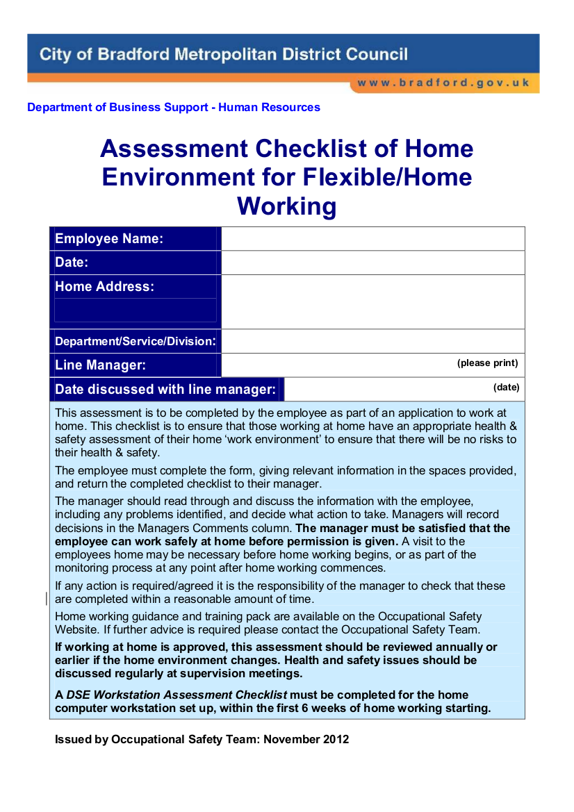 assessment checklist of home environment for flexible home working example