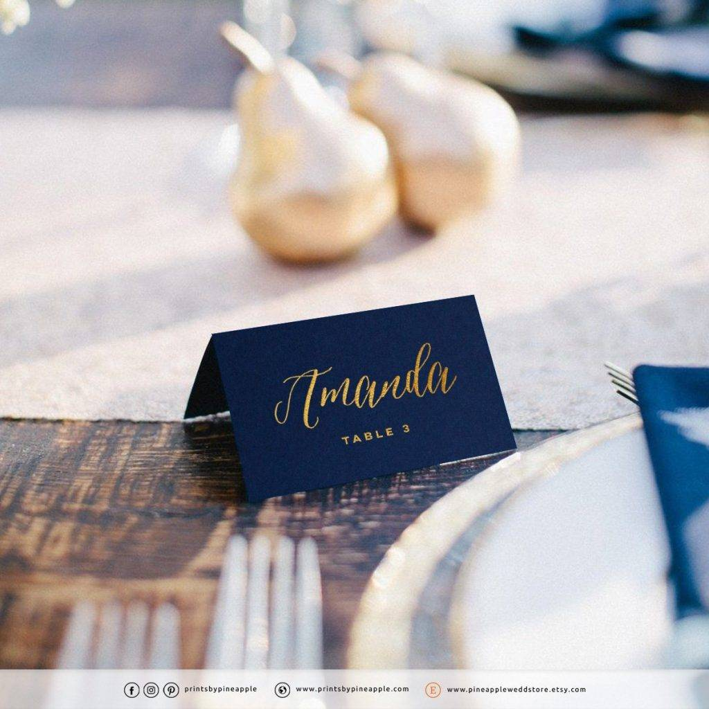aster gold personalized place card example