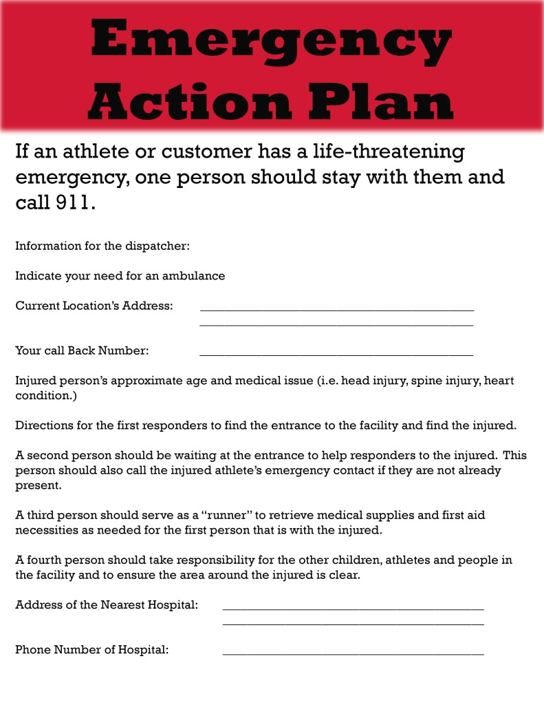 athlete emergency action plan example