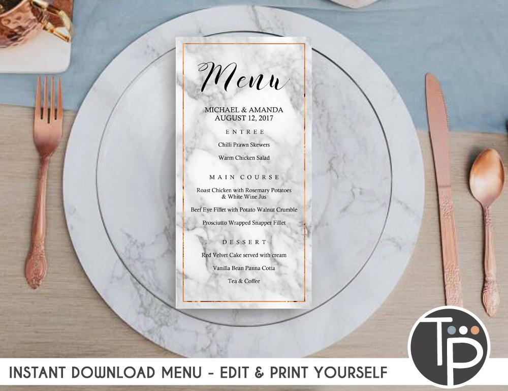 attractive marble wedding menu example