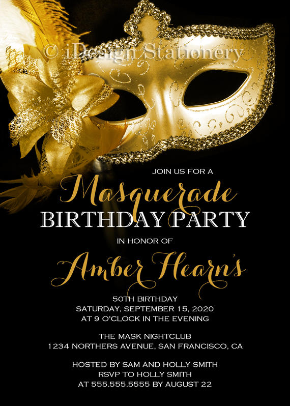 attractive masquerade birthday invitation example