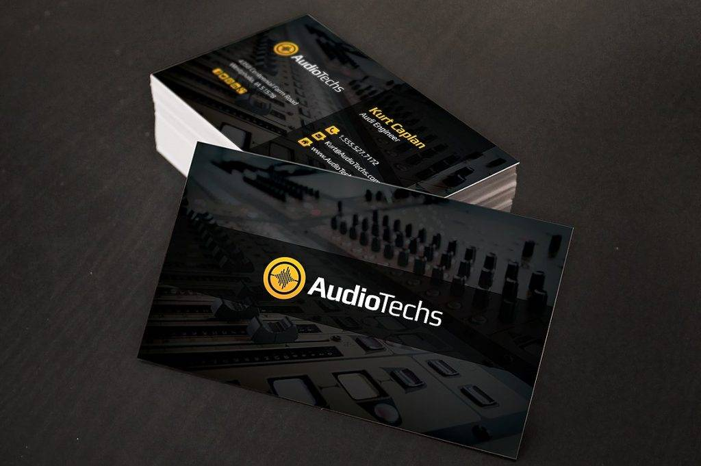 audio engineer business card logo example