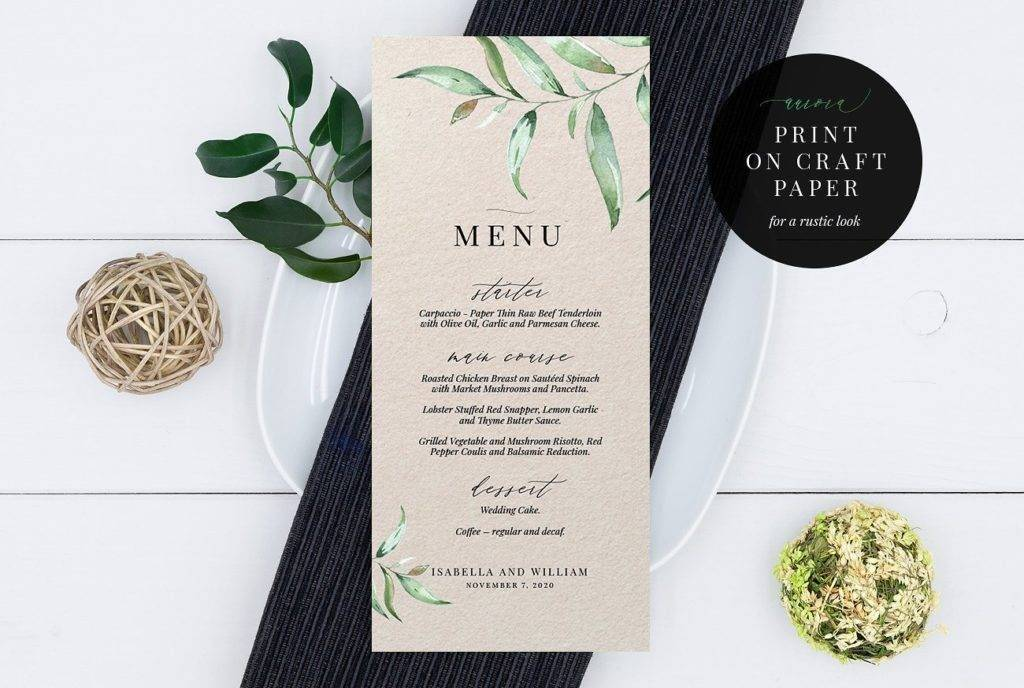 aurora printable wedding menu example1