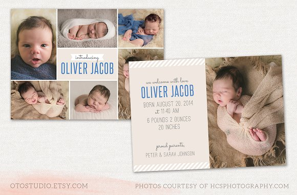 baby boy announcement card example