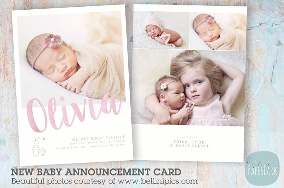 baby girl announcement card example