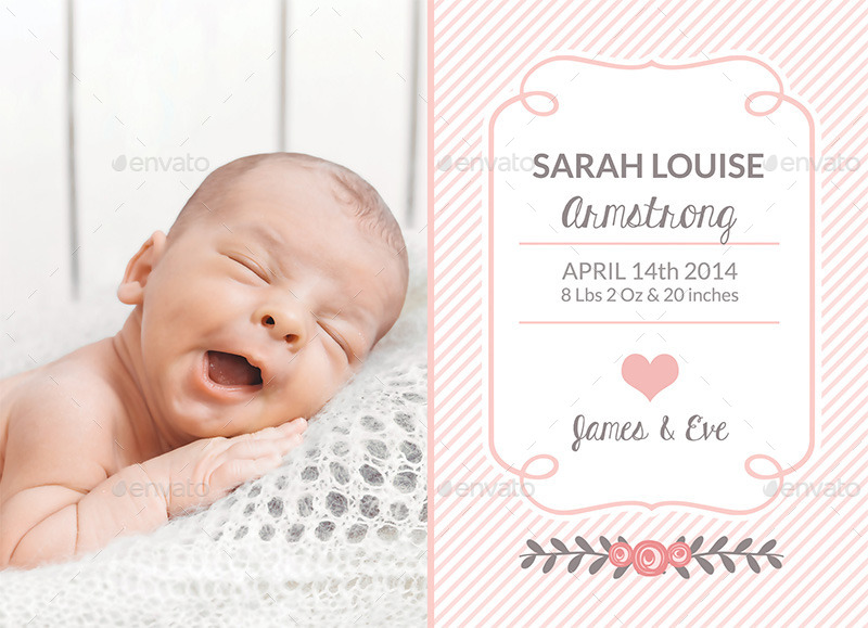 baby girl birth announcement template example