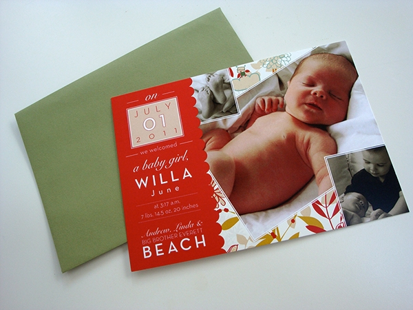 baby girl birth announcement design example