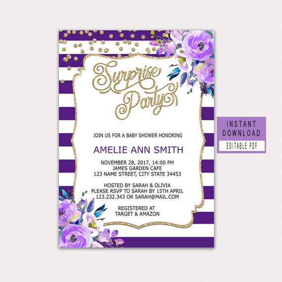 baby shower surprise party invitation example