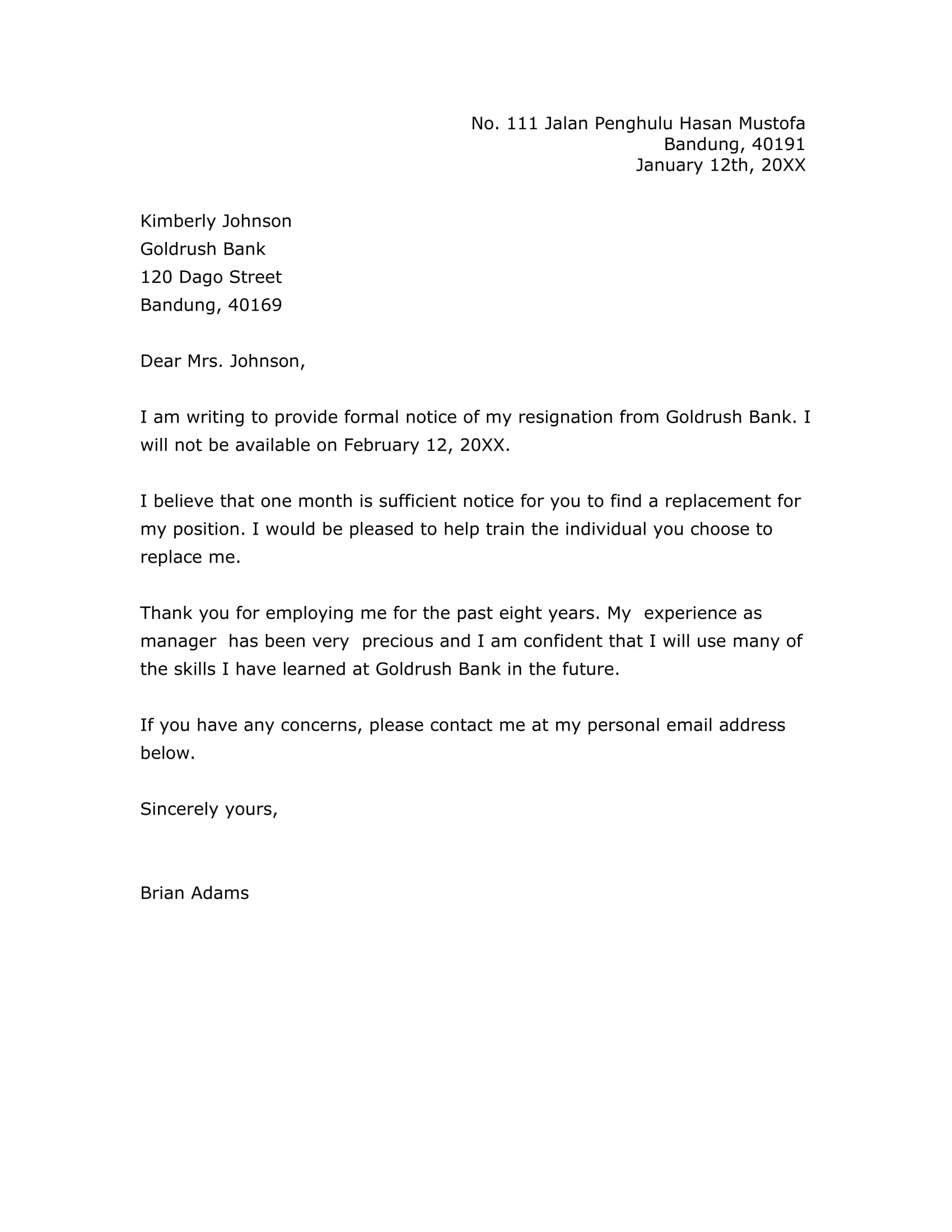 Letter Of Resignation Examples Two Weeks Notice from images.examples.com