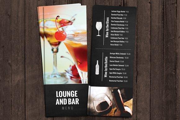 bar themed party menu example