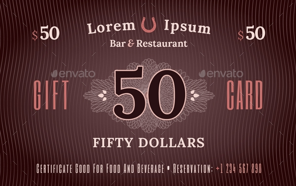 bar and restaurant birthday gift card example
