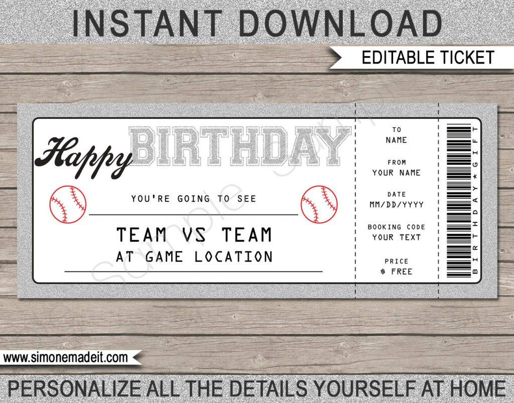 baseball ticket voucher example