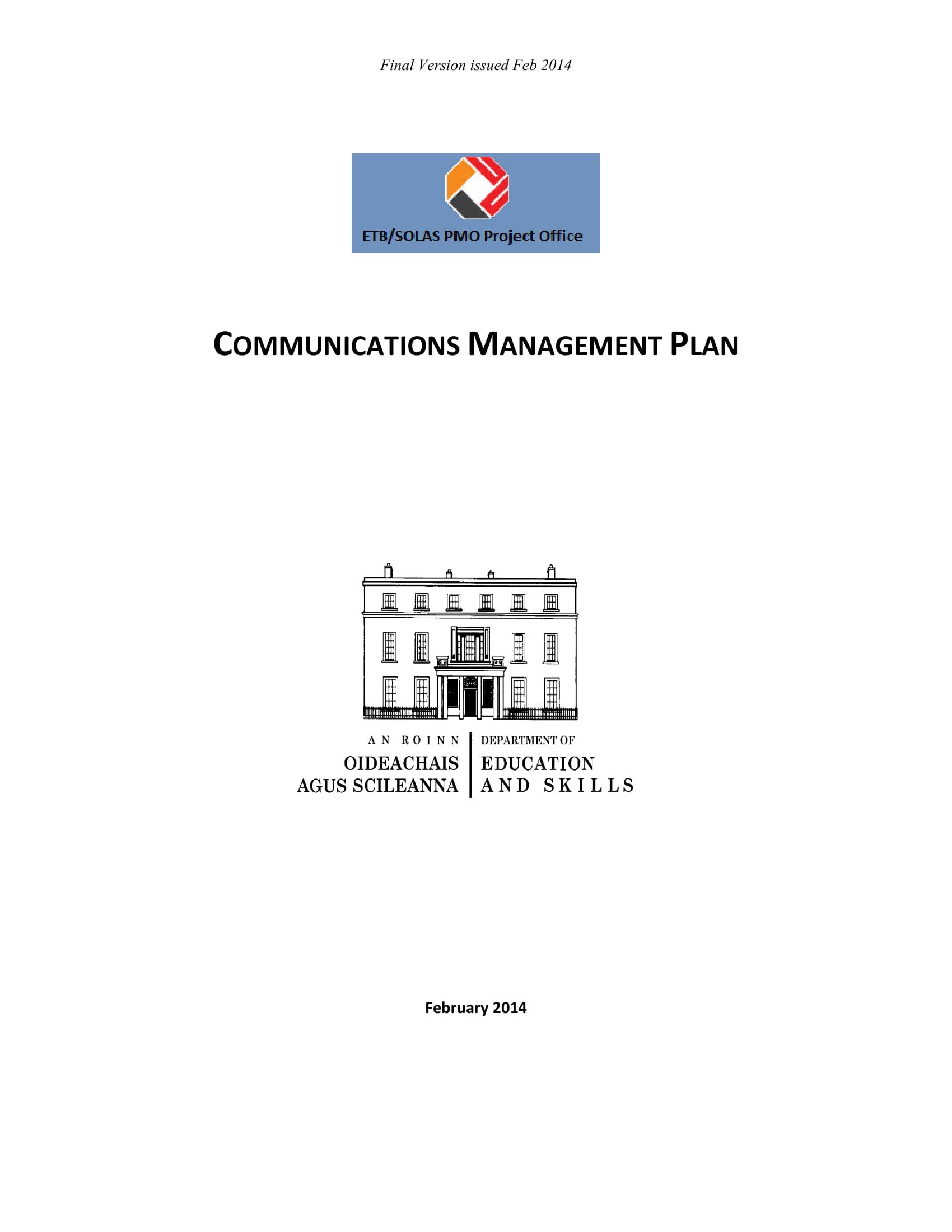 basic communication management plan example