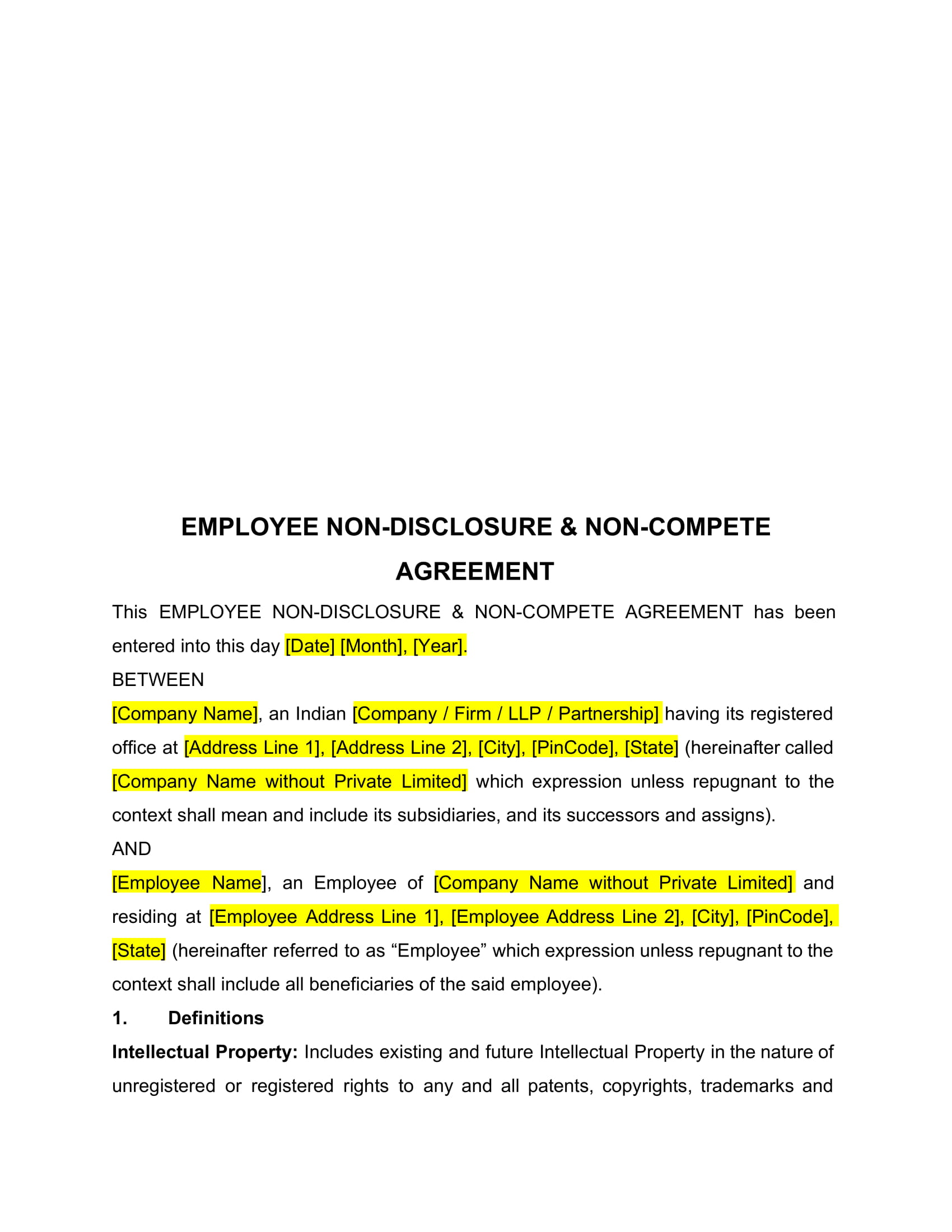 basic employee non disclosure and non compete agreement