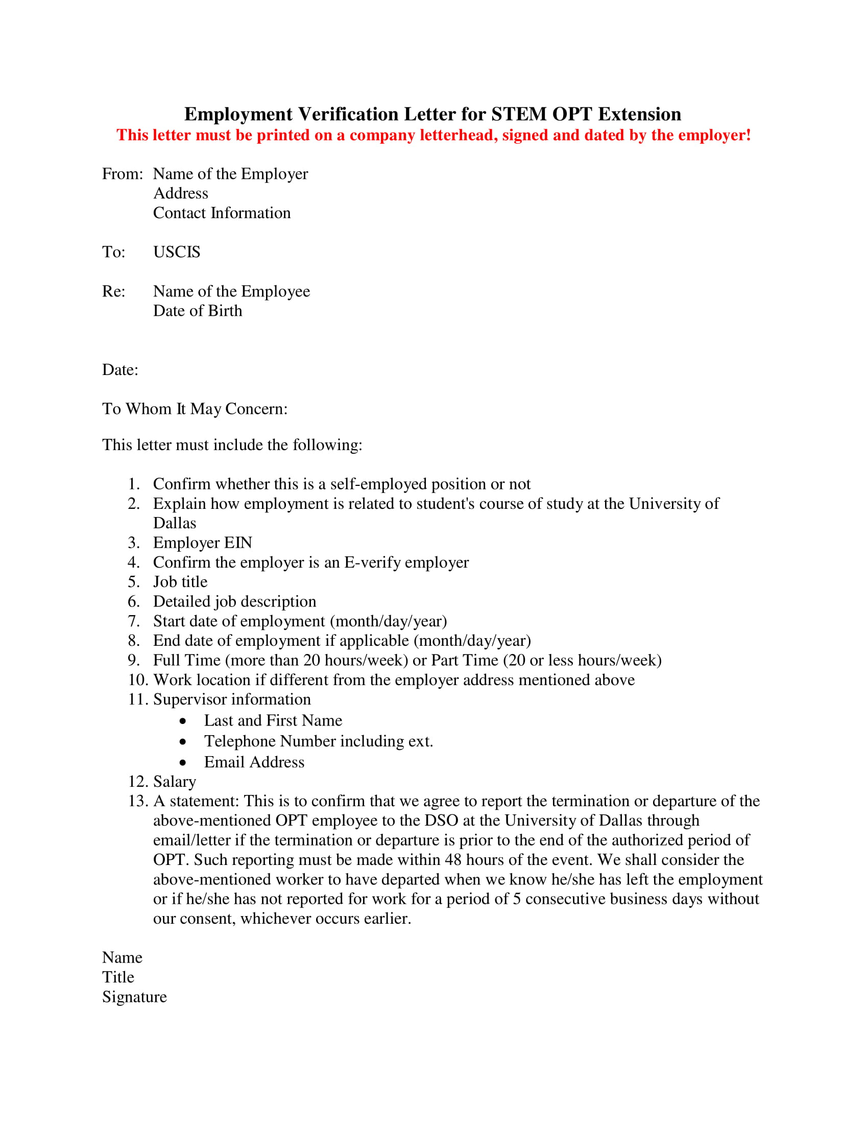 basic employment verification letter example
