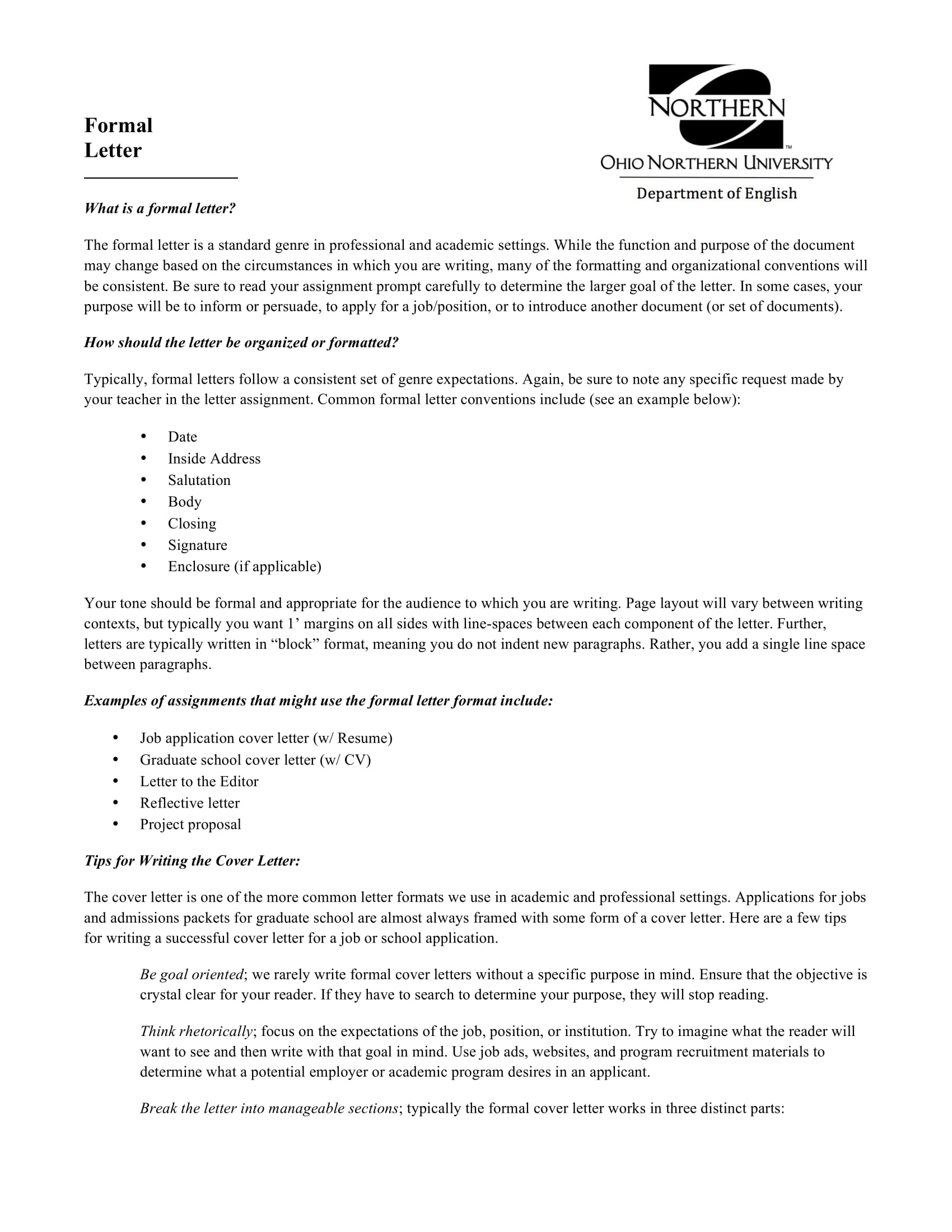 8 business formal letter examples pdf basic formal letter example altavistaventures Choice Image