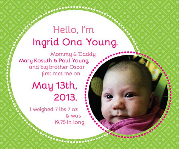basic photo birth announcement design example