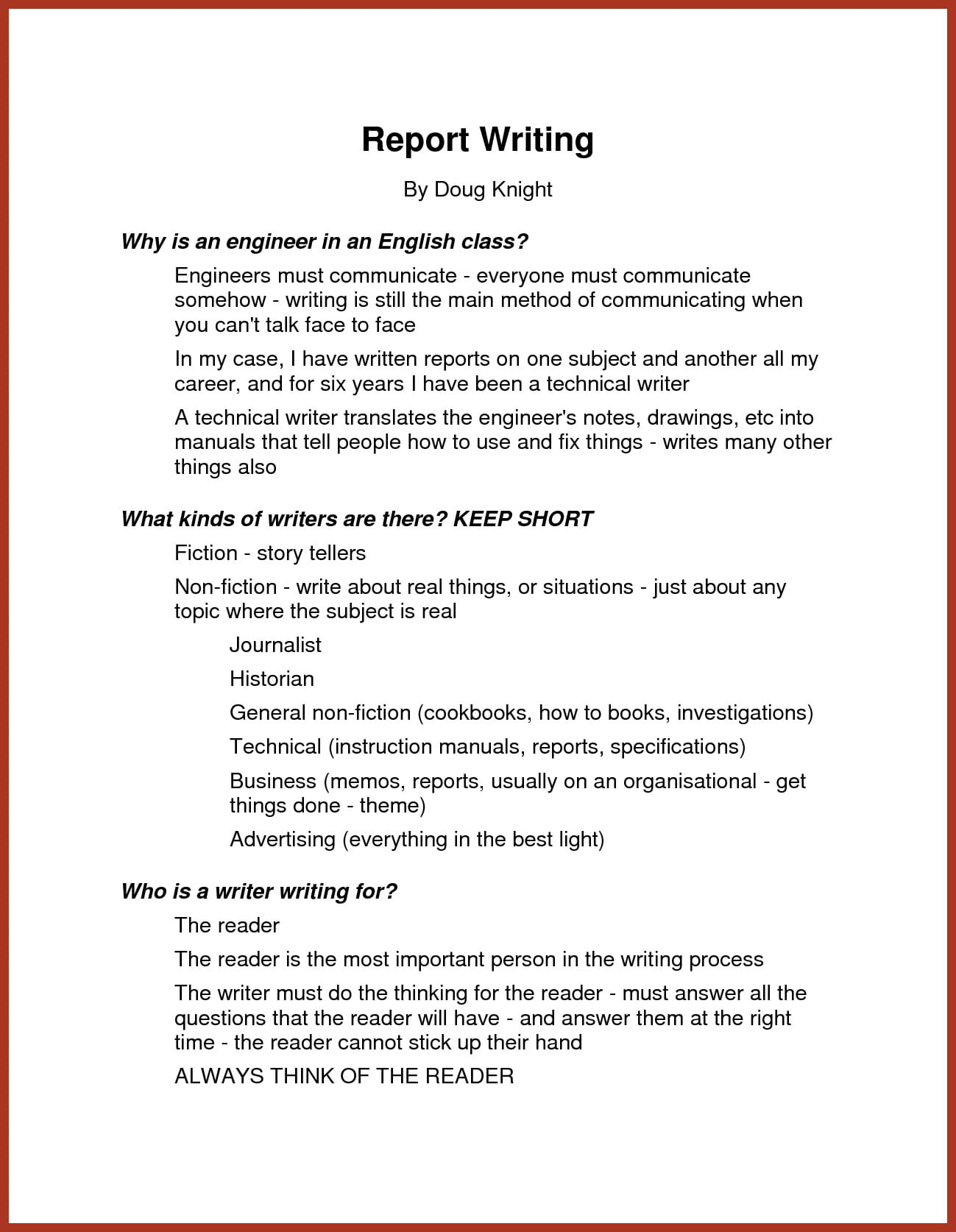how to write a short report pdf