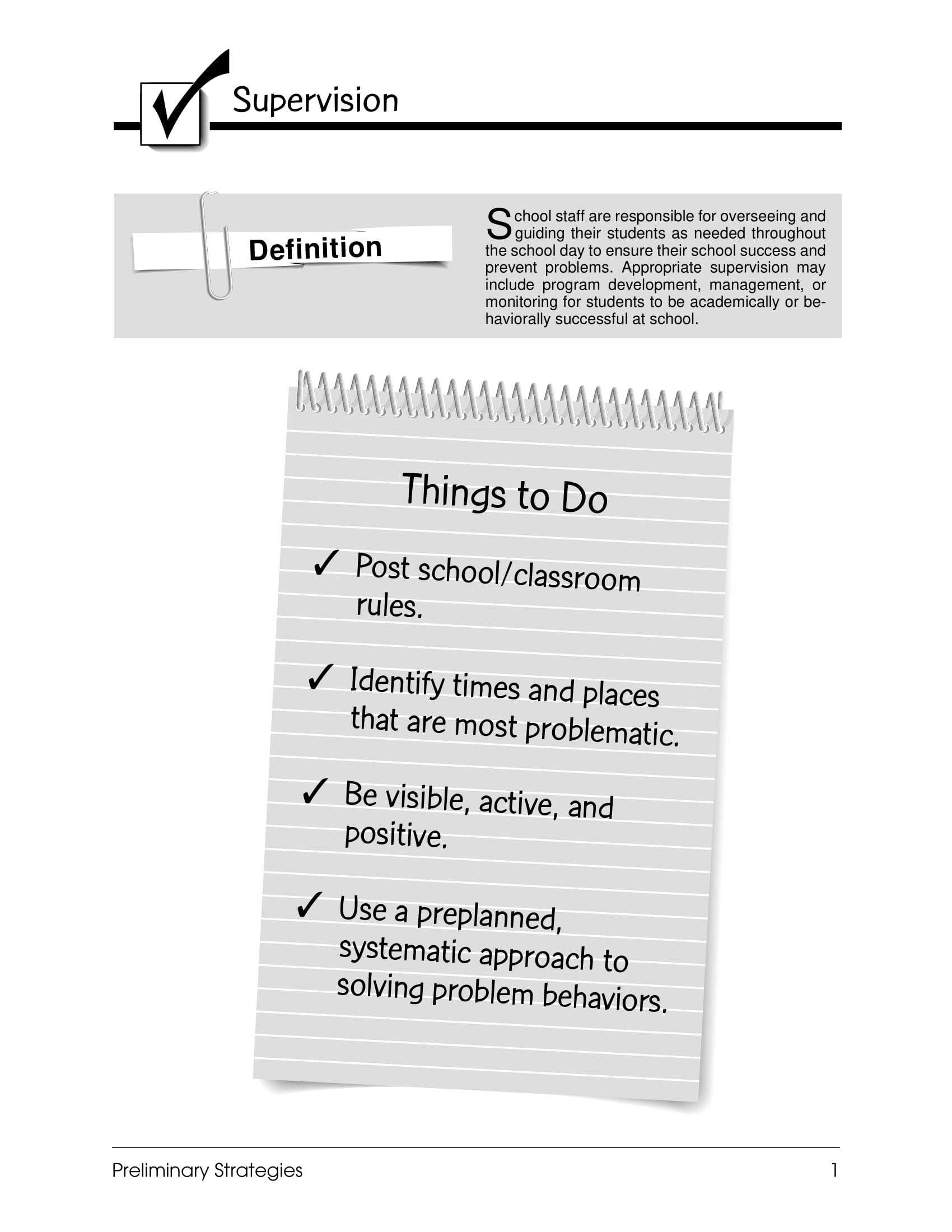 basic supervision checklist example