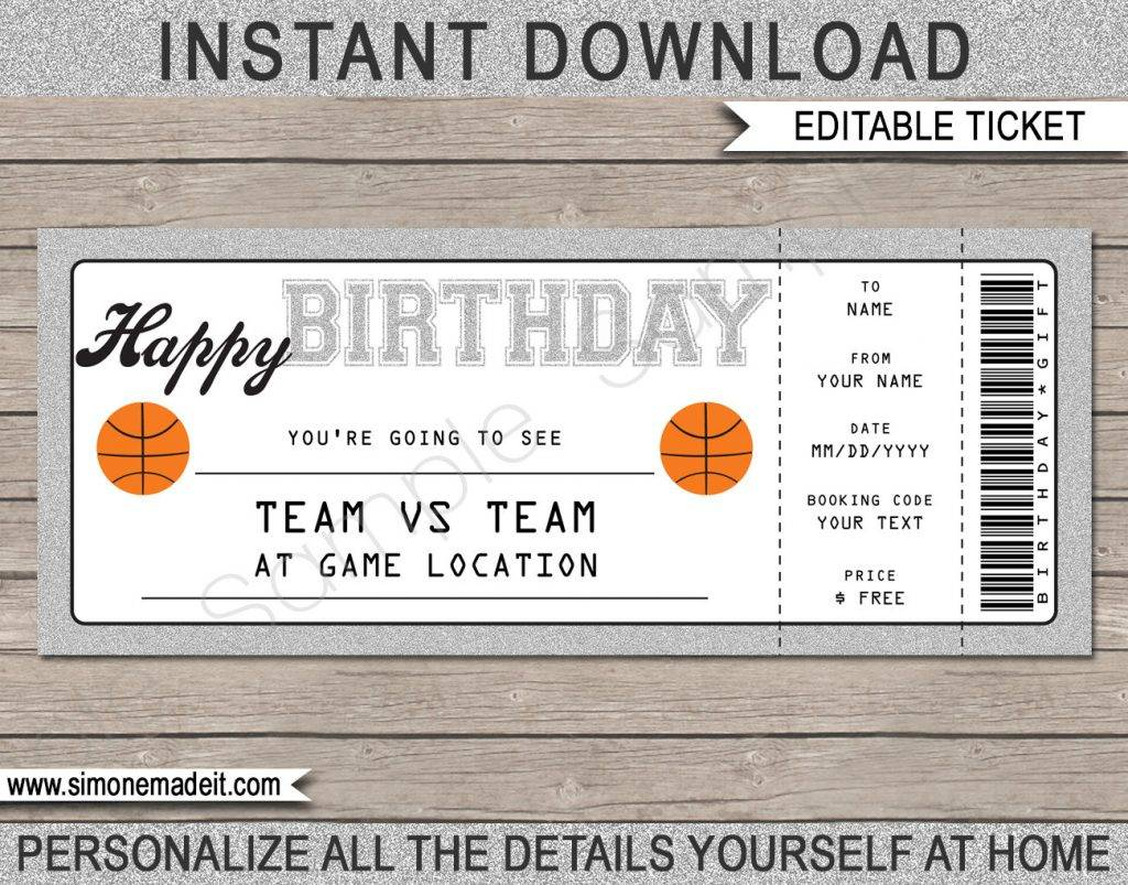 basketball birthday gift voucher example