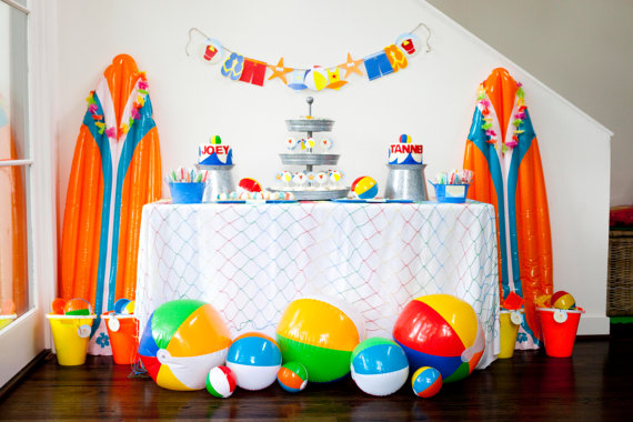 beach birthday party banner example