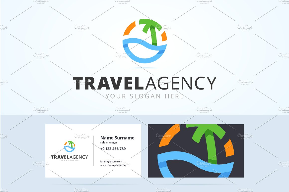 beach icon travel agency card example