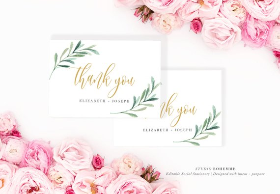 beautiful wedding thank you card example1
