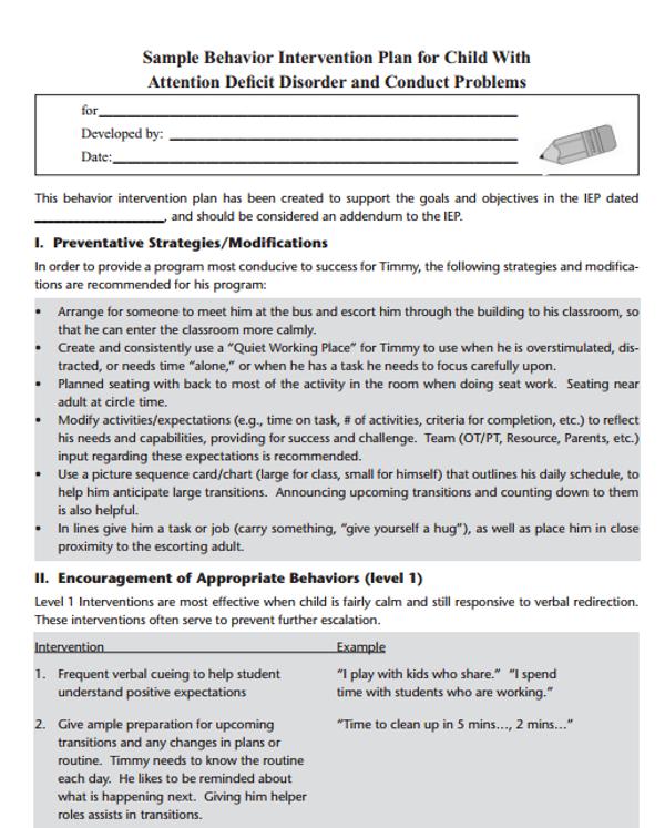 behavior intervention plan for child