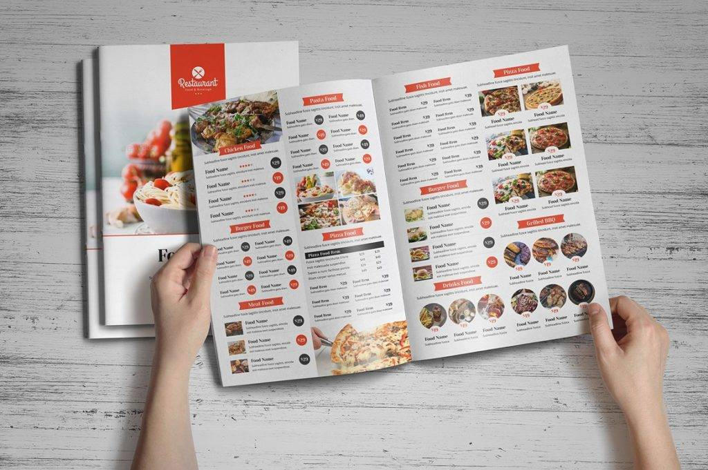 bi fold food indesign menu example 1024x681