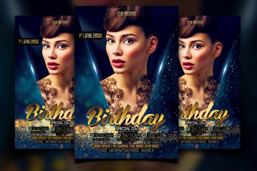 birthday flyer or poster template