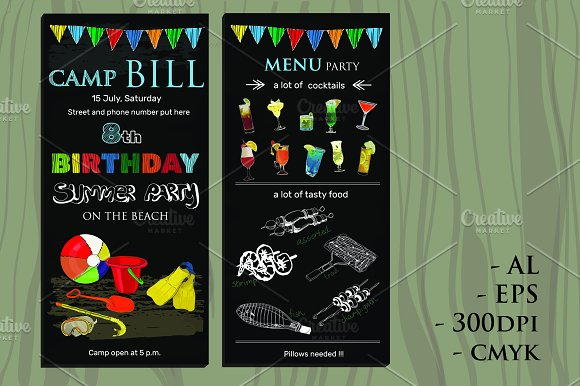 birthday invitation with menu example
