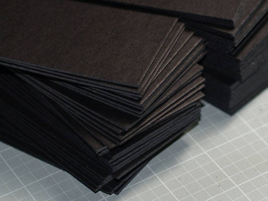black blank business card in heavyweight chipboard