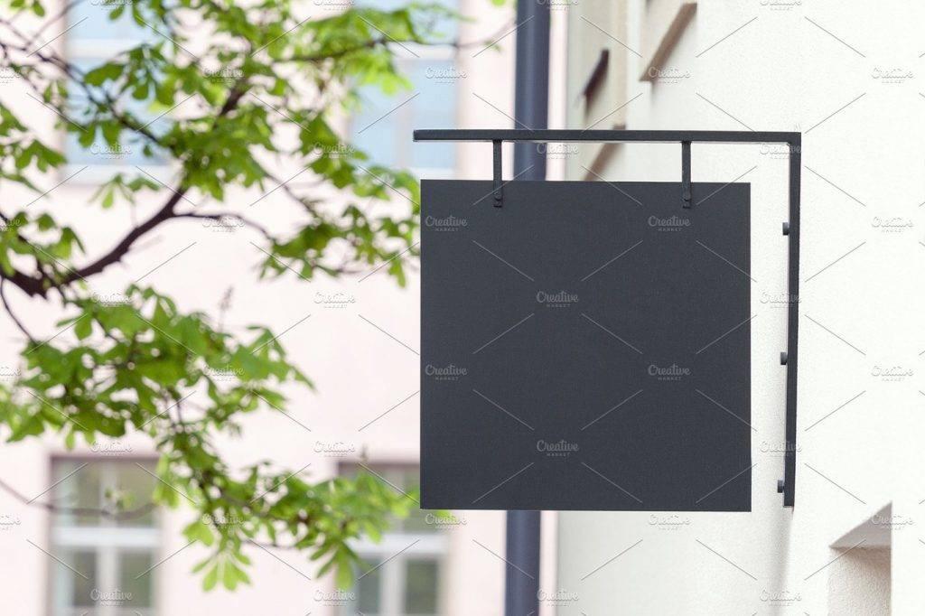 black empty signage mock up example