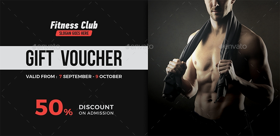 black fitness gift voucher example