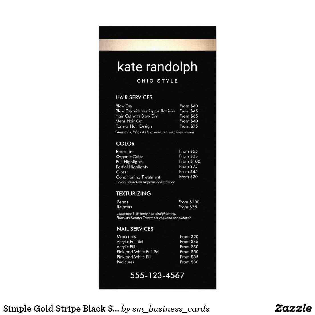 black gold striped wedding menu example