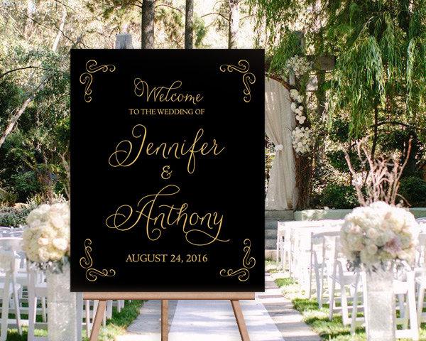 black gold wedding signage example
