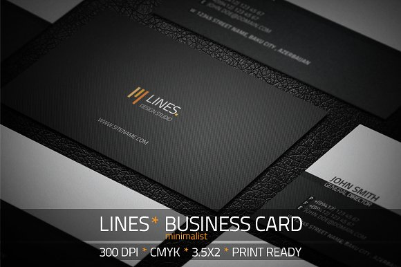black minimalist business card example