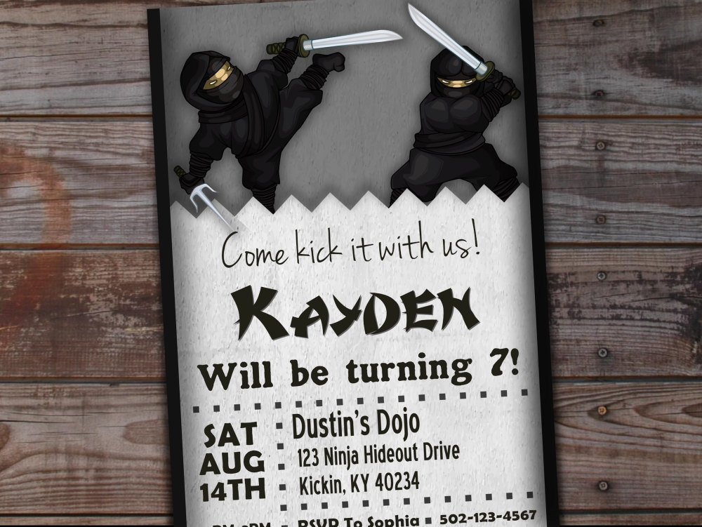black ninja invitation example