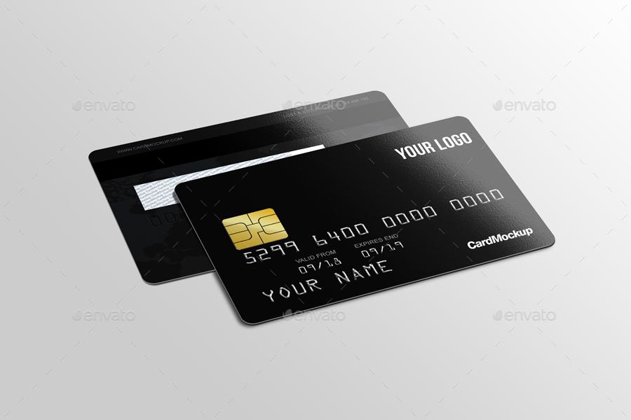 black plastic credit card mockup