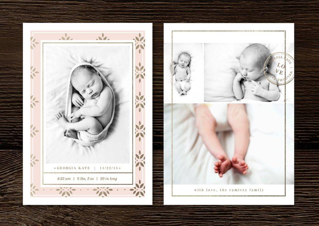 black white baby announcement design example
