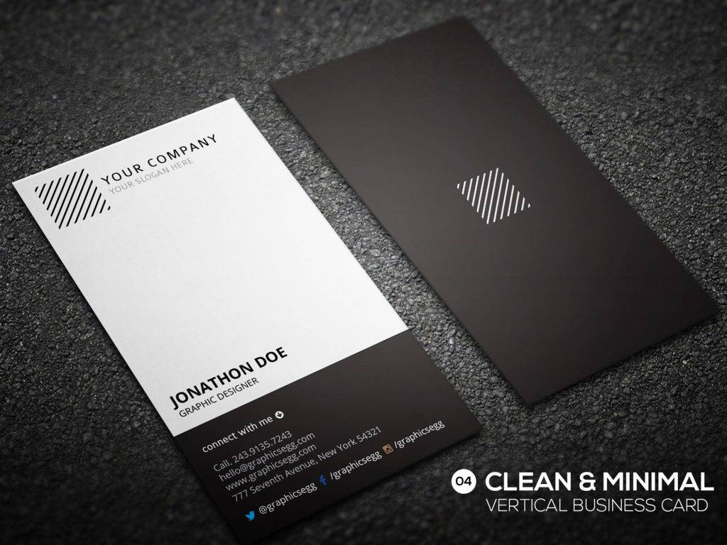 black white business card example