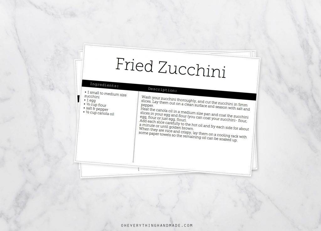 black white editable recipe card
